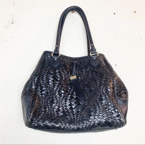 Cole Haan Bethany Large Woven Black Hand Bag